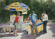 Hot Dog Stand Paintings - Dogs in the Park by Roxanne Tobaison