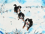 Rusin Mixed Media - Dogs In The Snow by Zbigniew Rusin