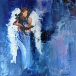 Angel Blues  Painting Prints - Dogs Need Angels Print by Judy Mackey