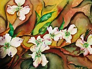 Landscaping Paintings - Dogwoods in Abstract by Lil Taylor
