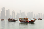 Qatar Framed Prints - Doha in the mist Framed Print by Paul Cowan