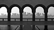 Black And White Photography Metal Prints - Doha Skyline From Museum Metal Print by Gregory T. Smith
