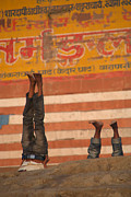 Burning Buildings Framed Prints - Doing Yoga on the Ghats at Varanasi Framed Print by Serena Bowles