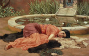 Peacock Feathers Posters - Dolce Far Niente Poster by John William Godward