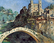 Italian Landscapes Paintings - Dolceacqua by Claude Monet