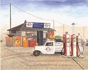 Service Station Paintings - Dolensheks D-X Service by Lori  Theim-Busch