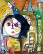 Girls Mixed Media - Doll Face by Ken Law