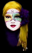 Purple Sash Prints - Doll Faced Mask Print by Scarlett Royal