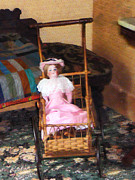Carriages Posters - Doll in Carriage Poster by Susan Savad
