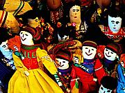Folk Art Photos - Doll in the Yellow Dress with Friends by Olden Mexico