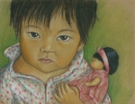 Little Girl Drawings Prints - Doll Love Print by Linda Nielsen