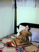Bed Quilts Prints - Doll on Four Poster Bed Print by Susan Savad