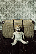 Eerie Prints - Doll With A Suitcase Print by Joana Kruse