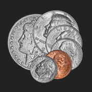 Coins Art - Dollar Ninety One by Tom Mc Nemar