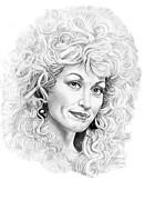 Famous People Drawings - Dolly Parton by Murphy Elliott