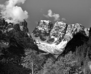 Europe Digital Art - Dolomites in Black and White by Ellen Lacey