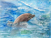 Marine Life Paintings - Dolphin  by Arline Wagner