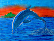Sunset Glass Art Framed Prints - Dolphin Framed Print by Betta Artusi
