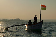 Dolphin Art Print Prints - Dolphin Boat with Indian Flag Palolem Print by Serena Bowles