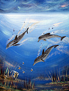 Acrylics On Canvas Paintings - Dolphin Dance by Karen Devonne Douglas