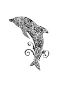 Pen And Ink Drawing Drawings - Dolphin Doodle by Jacqueline Eden