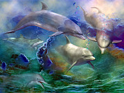 Swimming Mixed Media Posters - Dolphin Dream Poster by Carol Cavalaris