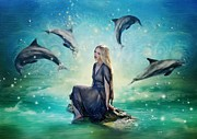 Dolphin Digital Art - Dolphin Dreams by Angel Gold