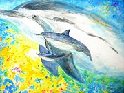 Liberation Paintings - Dolphin emerge by Tamara Tavernier