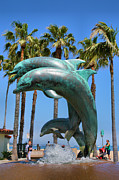 Dolphin Art Print Posters - Dolphin Fountain Poster by Steven Ainsworth