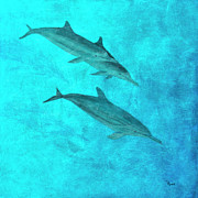 Fish Underwater Painting Originals - Dolphin II by Richard Roselli