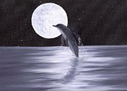 Stary Sky Prints - Dolphin Moon Print by Jim Saltis