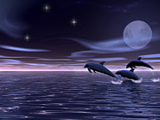 Whale Digital Art - Dolphin Moon. by Walter Colvin