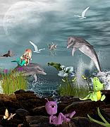 Fantasy Digital Art Metal Prints - Dolphin Play Metal Print by Dawn G