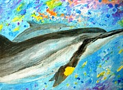 Kauai Artist Paintings - Dolphin playing with leaf by Tamara Tavernier