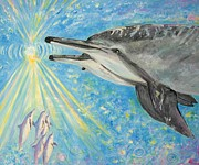 Kauai Artist Paintings - Dolphin power by Tamara Tavernier