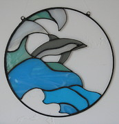 Waves Glass Art - Dolphin stained glass by Shelly Reid