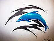 Dolphin Drawings Framed Prints - Dolphin Tattoo Framed Print by Sally Siko