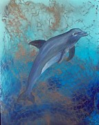Deepsea Paintings - Dolphin Underwater by Lynda McDonald