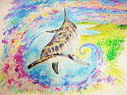 Kauai Artist Paintings - Dolphin wave by Tamara Tavernier