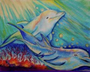 Coral Reef Pastels Prints - Dolphins at play Print by Sue Ann Rybarczyk