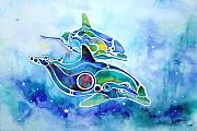 Dolphin Painting Prints - Dolphins Dance Print by Jo Lynch