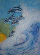 Kathy Marrs Chandler Art - Dolphins Jumping in the Waves by Kathy Marrs Chandler