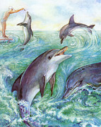 Beasts Paintings - Dolphins by Natalie Berman