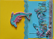 Gracie Mixed Media Originals - Dolphins Tale by Gracies Creations
