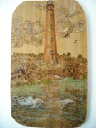 Red Pyrography Originals - Dolphins visit Ponce De Leon by Doris Lindsey