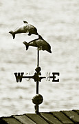 Weathervane Digital Art Prints - Dolphins Weathervane In Sepia Print by Ben and Raisa Gertsberg