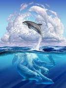 Happy Digital Art Posters - Dolphonic Symphony Poster by Jerry LoFaro