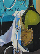 Champagne Painting Originals - Dom Perignon and Tiffany by James Scrivano