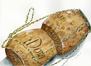 Champagne Painting Originals - Dom Perignon Cork by Sheryl Heatherly Hawkins
