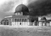 Black And White Digital Art Posters - Dome of the Rock - Jerusalem Poster by Munir Alawi